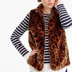 J. Crew Faux Fur Leopard Vest Zip Front